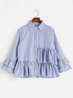 Striped Flounce Shirt - Blue L
