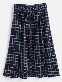 Button Up Plaid Midi Skirt - Deep Blue S