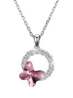 Collar De Cristal De Diseño De Mariposa De Forma Redonda - Rosado
