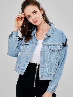 Ripped Lace Up Denim Jacket - Blue L