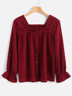 Square Knopf Bluse - Roter Wein L