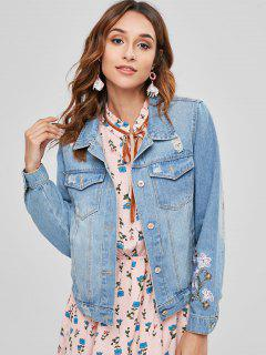 Floral Embroidered Ripped Western Denim Jacket - Blue L