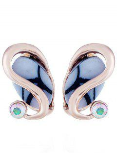 Rhinestone Artificial Gem Alloy Stud Earrings - Rose Gold