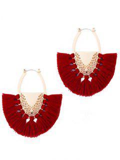 Elegant Fan Fringed Alloy Hoop Earrings - Red Wine