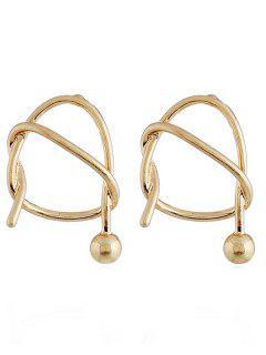 Irregular Geometric Shape Knot Stud Earrings - Gold