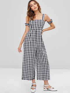 Sleeveless Plaid Wide Leg Jumpsuit - Black L