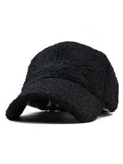 Casquette De Baseball Pelucheuse De Couleur Unie Style Vintage  - Noir