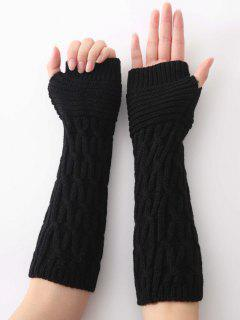 Winter Irregular Striped Knitting Gloves - Black