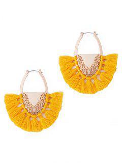 Elegante Abanico De Aleación De Aro Pendientes De Aro - Amarillo De Sol