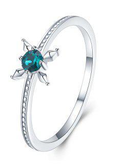 Anillo De Cristal Con Diseño Floral - Verde De Mar Ligero Us 9