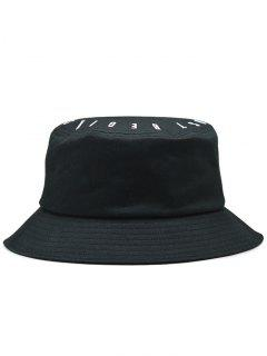 Letter Embroidery Bucket Hat - Black