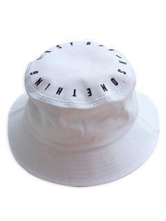 Sombrero Del Cubo Del Bordado De La Letra - Blanco