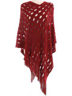 Stylish Hollow Out Fringed Shawl Scarf - Red Wine