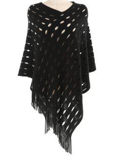 Stylish Hollow Out Fringed Shawl Scarf - Black