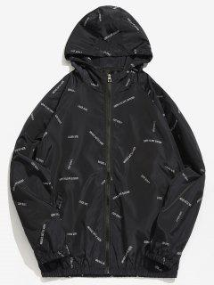 Letter Print Waterproof Hooded Jacket - Black Xs