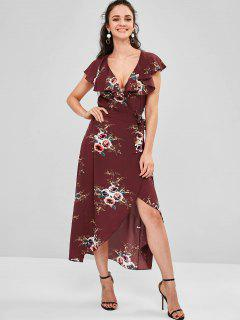 Wrap Foral Printed Maxi Dress - Red Wine L