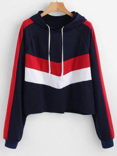 Tricolor Color Block Oversized Hoodie - Multi L