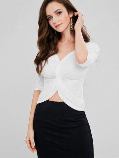 Twist Plunging T-shirt - White