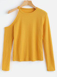 Ribbed Knit Cold Shoulder Top - Sun Yellow L