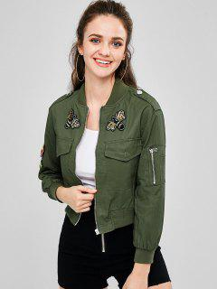 Beaded Zip Up Pilot Jacket - Army Green L