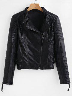 Hardware Zipped Faux Leather Biker Jacket - Black Xl