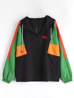 Color Block Hooded Jacket - Black