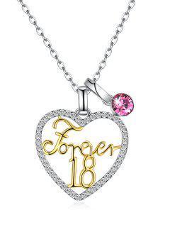 Collar De Cadena De Cristal De Amor Forever 18 - Rosado