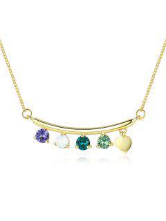 Collier Clavicule Cœur Perlé Avec Cristal - Multi