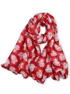 Santa Claus Printed Long Scarf - Red
