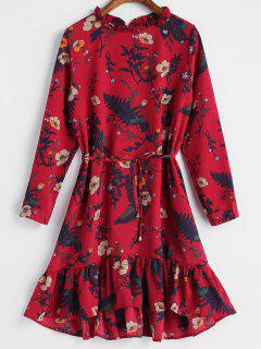 Ruffles Plant Print Tunic Dress - Firebrick Xl