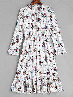 Grid Ruffles Floral Dress - White M