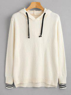 Hooded Drawstring Slit Sweater - Warm White