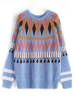 Chevron Pattern Sweater - Light Blue