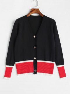 Patchwork Button Up Cardigan - Black