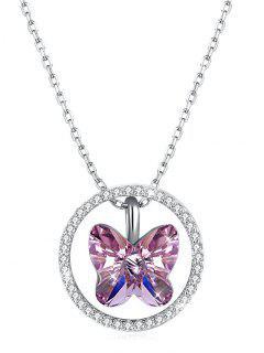 Collar Colgante Redondo Mariposa De Cristal - Rosado