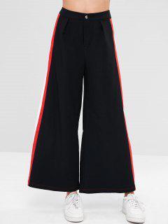 ZAFUL Wide Leg Contrast Side Culotte Pants - Black M