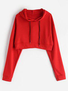 Cropped Plain Hoodie - Red