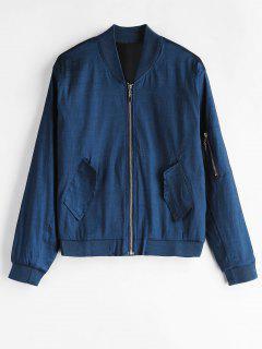 Shimmer Zip Up Bomber Jacket - Deep Blue M