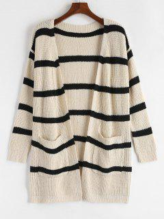 Drop Shoulder Stripe Cardigan - Beige