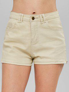 Mid Waist Shorts With Zipper - Light Khaki L