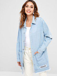 Cut Out Sleeve Button Up Denim Jacket - Light Blue