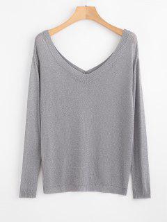 V Neck Thread Knitwear - Silver S