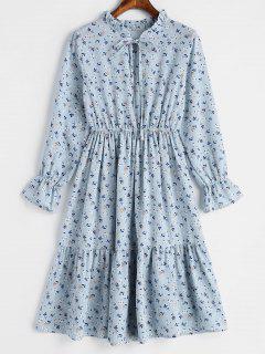 Ruffled Tiny Floral Dress - Powder Blue M