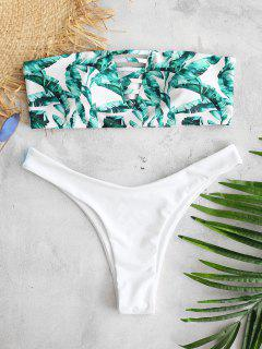 ZAFUL Bandeau Tropical Leaves Bikini Set - Multi S