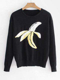 Banana Print Sweater - Black S