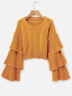 Cable Knit Tiered Sleeve Sweater - Golden Brown