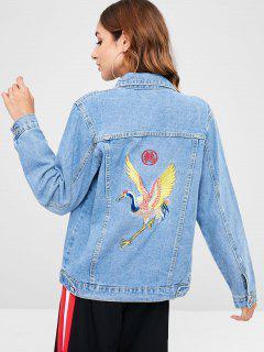Crane Embroidery Buttoned Denim Jacket - Denim Blue Xl