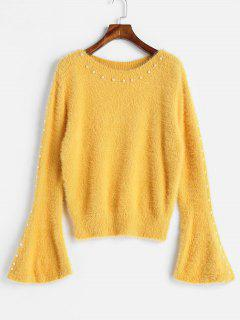 Flare Sleeve Beading Sweater - Yellow