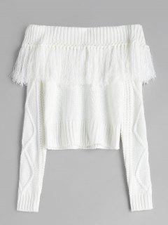 Off Shoulder Tassels Cable Knit Sweater - White L