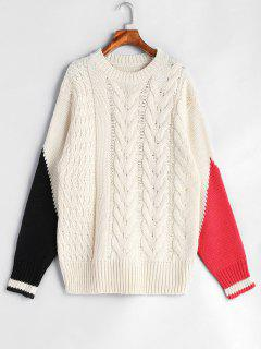 Color Block Cable Knit Tunic Sweater - Warm White